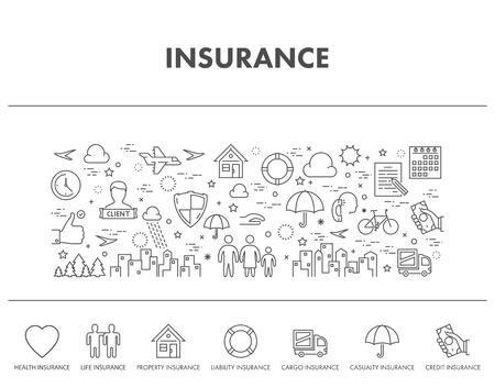 Décrire le concept de conception bannière web pour l'assurance. icônes d'assurance-maladie. icônes d'assurance-vie. icônes d'assurance de crédit.
