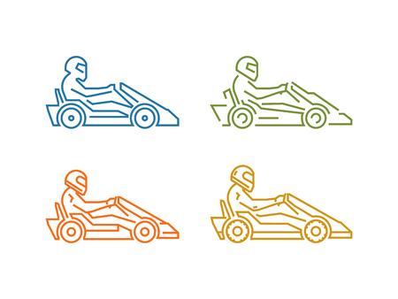 Vector colored line karting . Linear sport symbol for go kart.