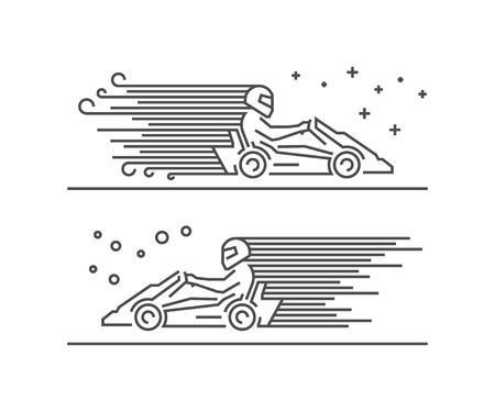 kart: Cool line go kart symbol. Modern outline karting . Vector line kart icons. Illustration