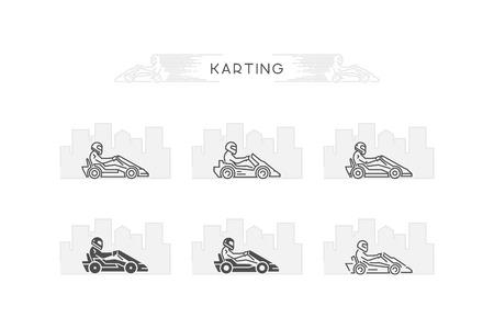 karting: Vector line karting symbol. Linear sport for go kart. Illustration