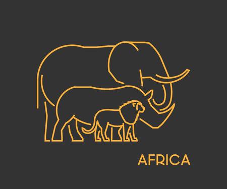Gouden overzicht symbool Afrika. Vector lijn silhouet van leeuwen, olifanten en neushoorns.