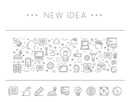 new idea: Vector line design concept web banner for new idea. Modern outline horizontal banner for big idea. Line creative style concept for web. Open path.