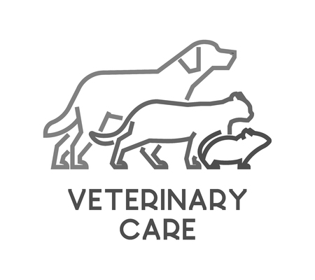 veterinary care: Line vector symbol for veterinary care with open path. Outline dog, cat and mouse. Modern veterinary clinic on white background.