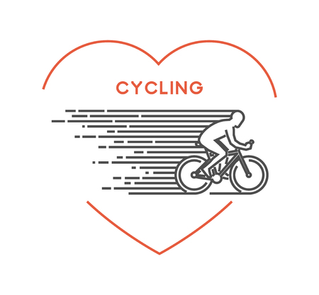 bicycling: Line vector symbol for cycling with open path. I love cycling. Outline figure cyclist. Stylish cycling on white background.