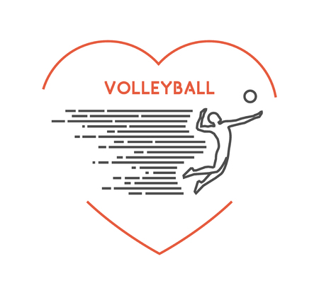 volleyball player: Line vector symbol for volleyball with open path. I love volleyball. Outline figure volleyball player. Stylish volleyball on white background.