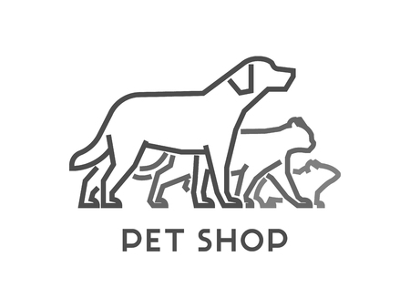 cat open: Line vector symbol for pet shop with open path. Outline dog and cat. Modern pet store on white background.