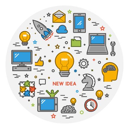 new idea: Vector line creative style concept web banner for new idea. Modern outline banner for big idea. Open path.