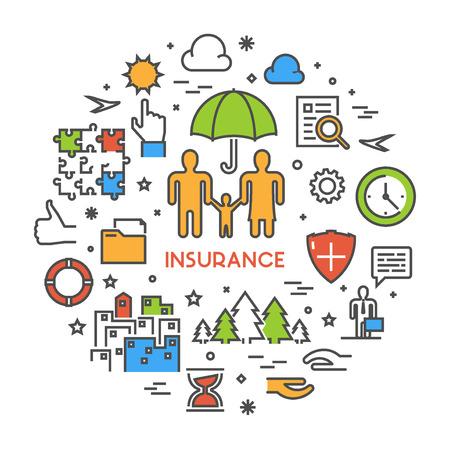 life insurance: Line design web concept for life insurance. Open path.