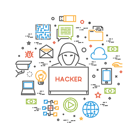 crimes: Hackers and cyber criminals online. Concept of hacking and internet crimes. Open path. Illustration