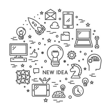 new idea: Vector line design concept web banner for new idea. Modern outline banner for big idea. Line creative style concept for web. Open path.