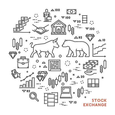 stock exchange brokers: Vector line concept stock exchange. Linear symbol commodity exchange. Modern banner stock market.