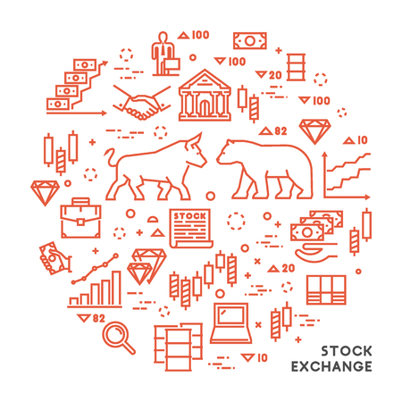 commodity: Vector line concept stock exchange. Linear symbol commodity exchange. Modern banner stock market.