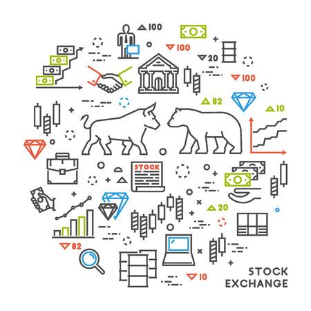 Vector Linienkonzept Börse. Linear Symbol Warenbörse. Moderne Banner Aktienmarkt. Vektorgrafik