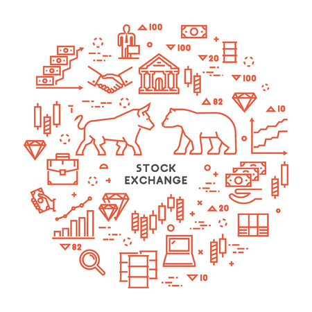 stock exchange brokers: Vector line concept stock exchange. Linear modern banner commodity exchange. Open path. Illustration