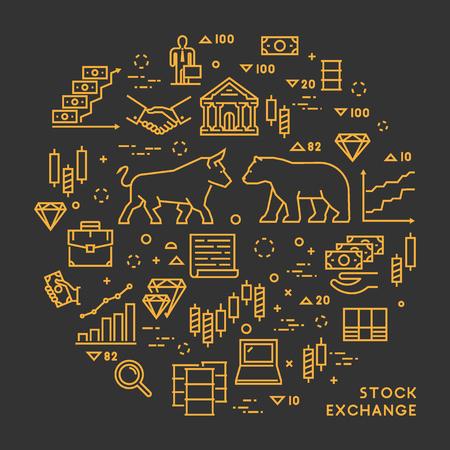 Vector de la línea de cambio de concepto stock. el intercambio de los productos básicos símbolo lineal. mercado de la bandera de valores moderno. camino abierto.