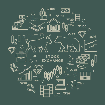 liquidity: Vector line concept stock exchange. Linear symbol commodity exchange. Modern banner stock market. Open path. Illustration