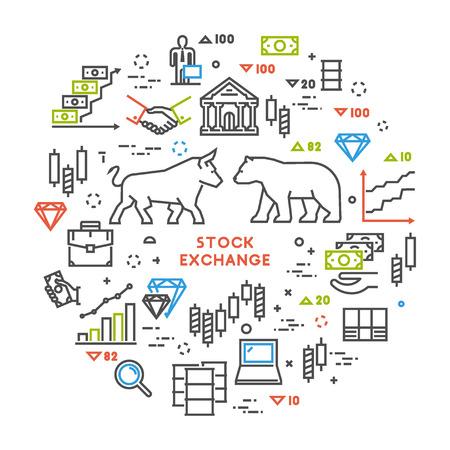 Vector line concept stock exchange. Modern linear symbol commodity exchange. Open path. Vector Illustration