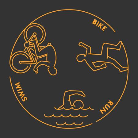 Vector gold line design concept for triathlon. Linear creative style web banner. Open path.