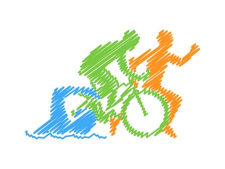 Vector line design concept for triathlon. Colored linear silhouette triathlete. Open path. Illustration