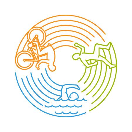 Vector line design concept for triathlon. Linear creative style web banner. Open path.