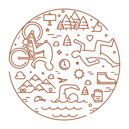 triathlon: Linear concept for triathlon. Vector line round banner triathlon for web. Open path.
