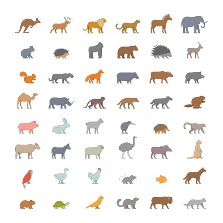 Flat set of silhouettes of australian, african, american and other animals. Vector icon monkey, beaver, pig, kiwi, lemur, cow, chicken and others. Open path. Ilustração