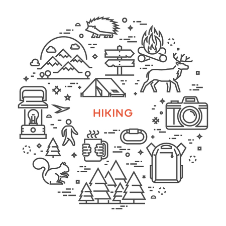 Vector line concept for hiking. Linear design banner for adventure. Open path. Illustration