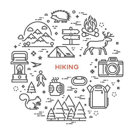 línea de vector de concepto para el senderismo. Lineal diseño de la bandera para la aventura. camino abierto. Ilustración de vector