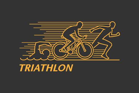 벡터 골드 라인 로고 트라이 애슬론입니다. 검은 색 바탕에 인물 triathletes. 수영, 사이클링 및 실행 기호입니다. 열린 경로입니다. 스톡 콘텐츠 - 60438729