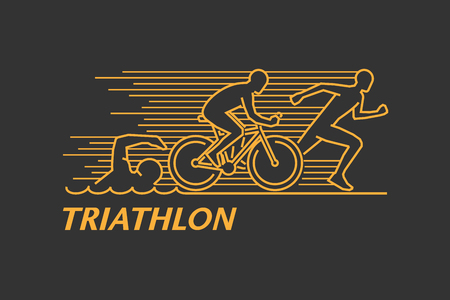 Vector gold line logo triathlon. Figures triathletes on a black background. Swimming, cycling and running symbol. Open path.