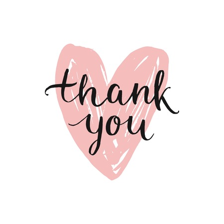 Vector Thank you card, handdrawn font on ink heart. Thanks illustration with modern lettering isolated on white background Vectores