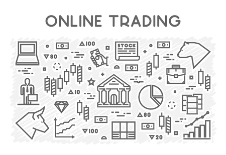 online trading: Line concept of online trading. Vector symbol of stock market.