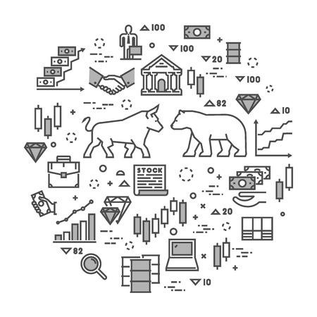 wall street bull: Vector line concept stock exchange. Linear symbol commodity exchange. Modern banner stock market.