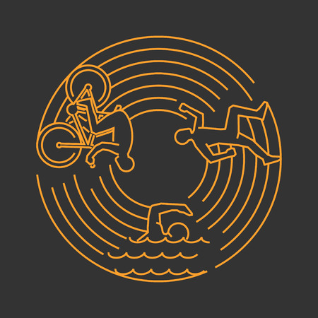 concetto di design Vector Gold Line per il triathlon. Lineare banner web stile creativo. Apri percorso.