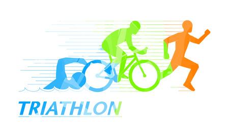 simbol: simbolo fresco per il triathlon. logo elegante per il triathlon su sfondo bianco. Vettoriali