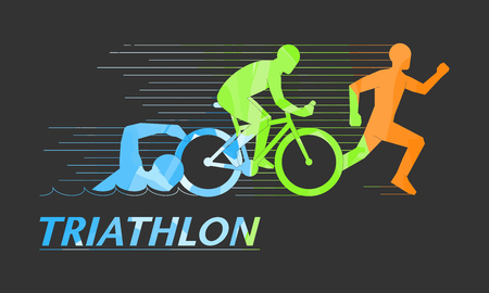 Cool vector symbol for triathlon. Stylish logo for triathlon on black background.