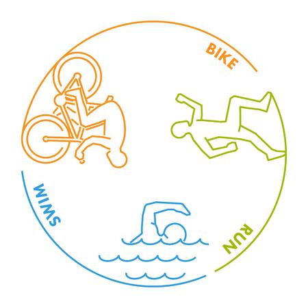 path to success: line design concept for triathlon. Linear creative style web banner Illustration
