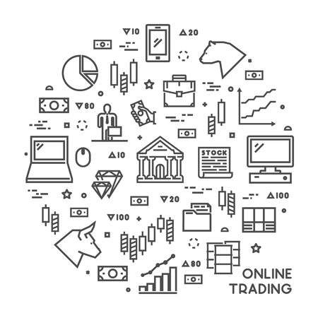 online trading: Round line concept for online trading