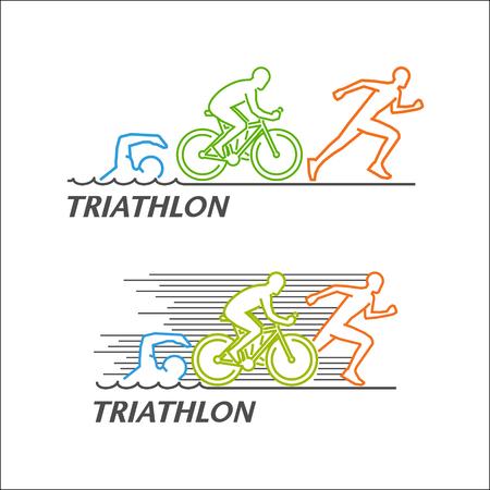 Line For Triathlon Stylish Symbol For Triathlon On White Background