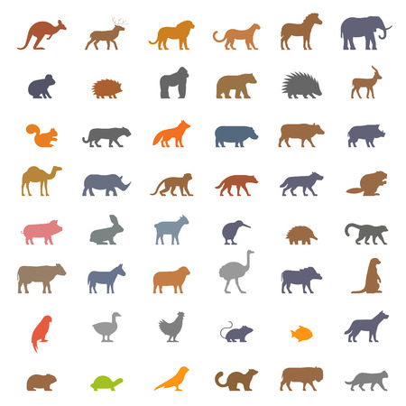 set figures of domestic farm and wild animals isolated on white background Illustration