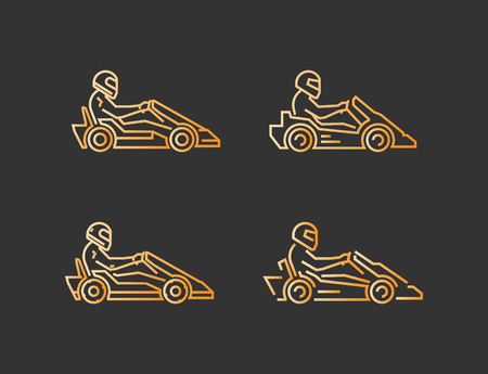 karting: Vector line karting symbol. Linear sport  for go kart.