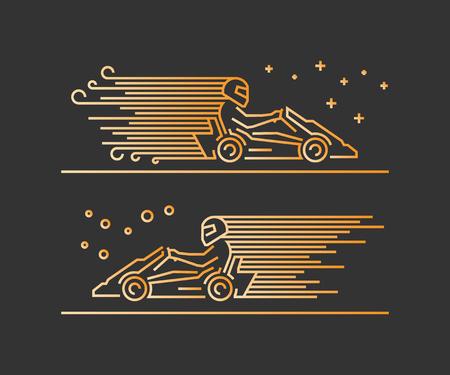 kart: Vector line karting symbol. Linear sport logo for go kart.