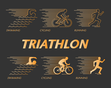 path to success: Vector gold line  triathlon. Figures triathletes on a black background. Swimming, cycling and running symbol. Open path. Illustration