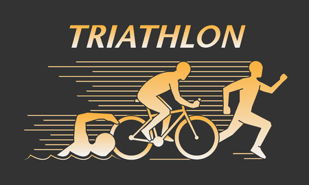 Vector gold line  triathlon. Figures triathletes on a black background. Swimming, cycling and running symbol. Open path. Иллюстрация