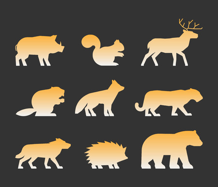 mountain lion: Gold set of figures of wild animals. Silhouettes wild animals isolated on white. Black wild animals. Shape boar, squirrels, deer, beaver, fox, puma, wolf, hedgehog and bear. Illustration
