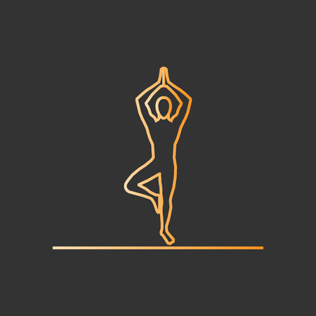 yogi: Gold line yoga icon. Vector silhouette of yogi.