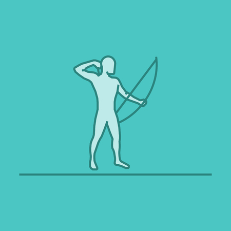 Vector silhouette of archer. Modern outline archery