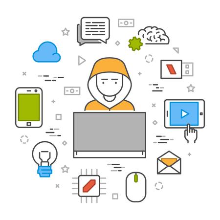 Vektor-Konzept von Hacking und Cyber-Kriminelle online. Öffnen Sie Pfad.