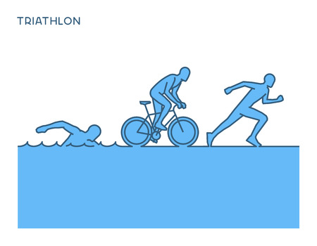 Fresco siluetas de los triatletas. triatlón vector.