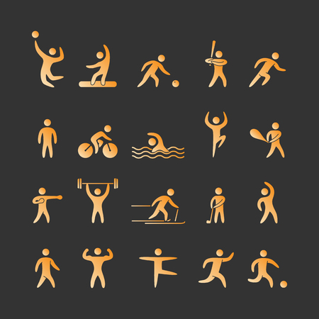 blacks: Gold silhouettes of athletes popular sports. Vector icons. Illustration